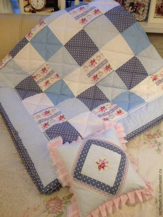 """Текстиль, ковры ручной работы. Ярмарка Мастеров - ручная работа. Купить Лоскутное одеяло """"Утро в Провансе"""".. Handmade. Разноцветный, квадраты"""