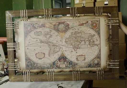 Город ручной работы. Ярмарка Мастеров - ручная работа. Купить Карта на коже. Handmade. Коричневый, карта мира, карта