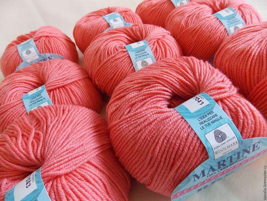Вязание ручной работы. Ярмарка Мастеров - ручная работа. Купить Итальянская пряжа Lana Merinos - 100%, розовый коралл. Handmade.