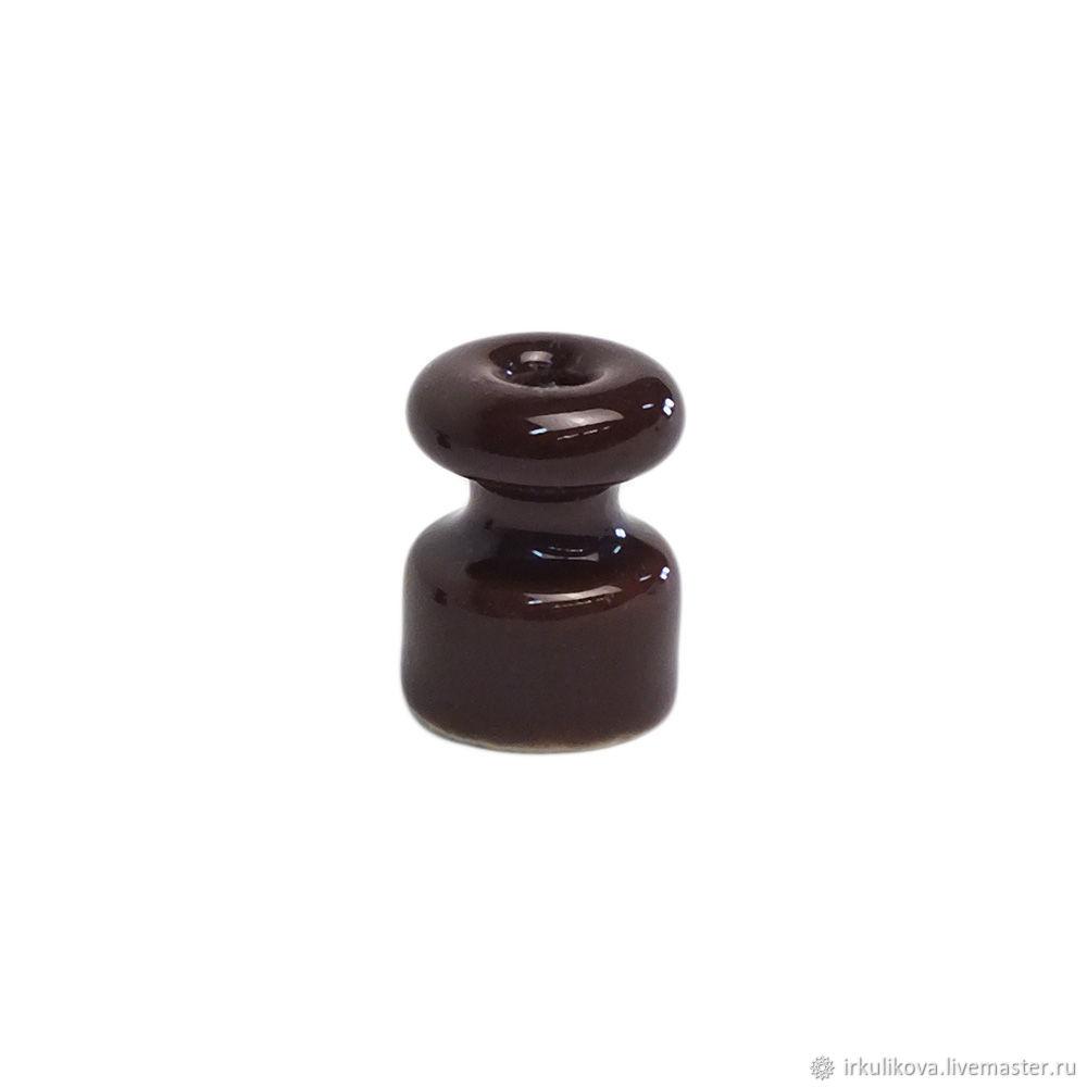 Изолятор керамический 18х23 мм,еоричневый, Дизайн, Москва,  Фото №1