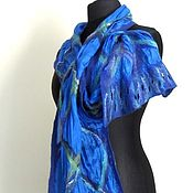 Аксессуары handmade. Livemaster - original item Blue sky - felted silk tippet. Handmade.