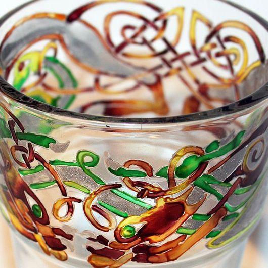 Бокалы, стаканы ручной работы. Ярмарка Мастеров - ручная работа. Купить Кельтские стаканы. Handmade. Кельтика, краски витражные