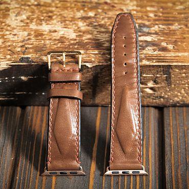 Украшения ручной работы. Ярмарка Мастеров - ручная работа Коричневый кожаный ремешок для Apple Watch. Handmade.