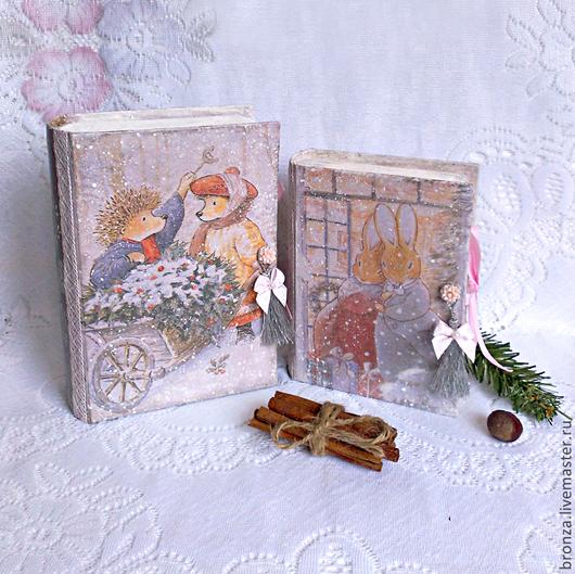 """Новый год 2017 ручной работы. Ярмарка Мастеров - ручная работа. Купить Книга-шкатулка """"Рождество в зимнем лесу"""", комплект из 2-х книг.. Handmade."""
