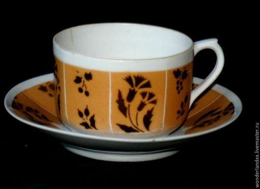 Винтажная посуда. Ярмарка Мастеров - ручная работа. Купить Редкая чайная пара, Вербилки 1939-1940 год. Handmade. Коричневый