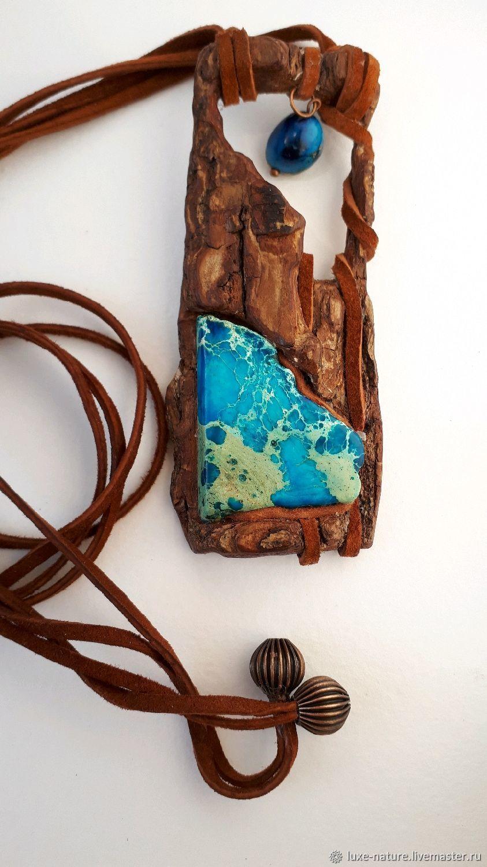 Кулон из дерева с синим камнем Пролетая над землей, Подвески, Москва, Фото №1