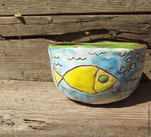 """Пиалы ручной работы. Ярмарка Мастеров - ручная работа. Купить Пиала для чая """"Золотая рыбка"""". Handmade. Керамика, море, волны"""