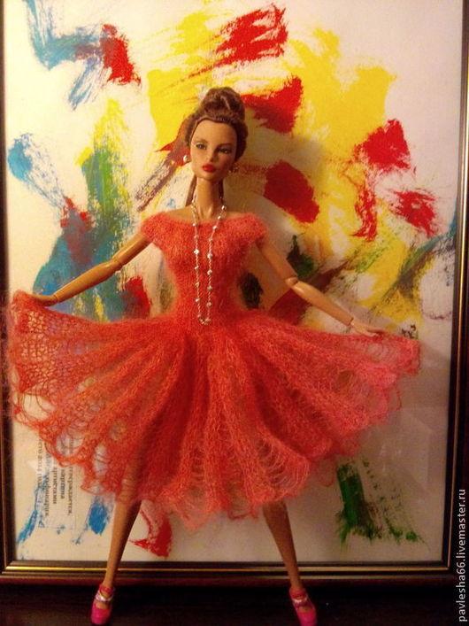 """Одежда для кукол ручной работы. Ярмарка Мастеров - ручная работа. Купить платье для куклы. вязанное -""""в нежных сетях мохера"""". Handmade."""