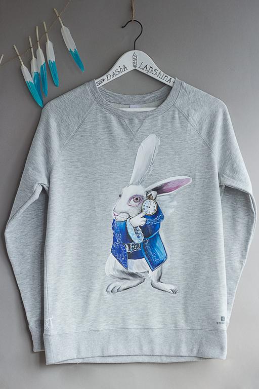 Кофты и свитера ручной работы. Ярмарка Мастеров - ручная работа. Купить Толстовка с росписью The White Rabbit. Handmade.