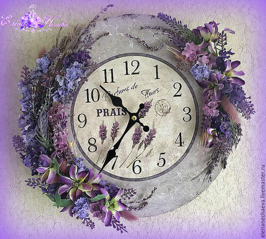 """Часы для дома ручной работы. Ярмарка Мастеров - ручная работа. Купить Часы настенные """"Лавандовое настроение"""" Интерьерные часы. Handmade."""