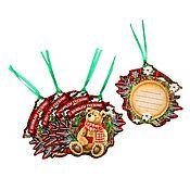 """Подарки к праздникам ручной работы. Ярмарка Мастеров - ручная работа Новогодние теги для подарка """"Новогодние посиделки"""" 10 x9 см, 5 штук. Handmade."""