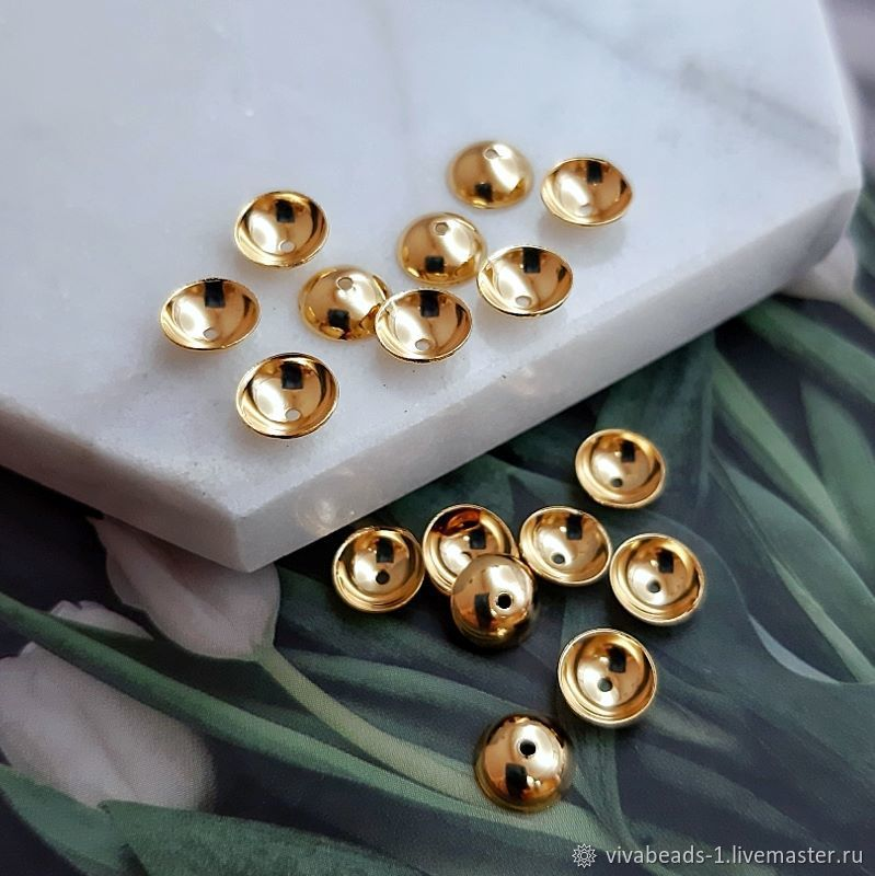 10 PCs. Beanies for beads 6h2 mm color gold (4536), Accessories for jewelry, Voronezh,  Фото №1