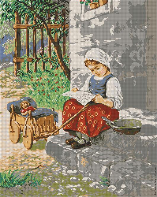 """Вышивка ручной работы. Ярмарка Мастеров - ручная работа. Купить Схема для вышивания чешским бисером """"На порожке"""". Handmade."""