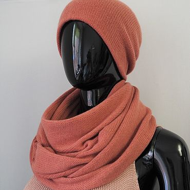 Accessories. Livemaster - original item Cap double and Snood in two turnover from cashmere. Handmade.