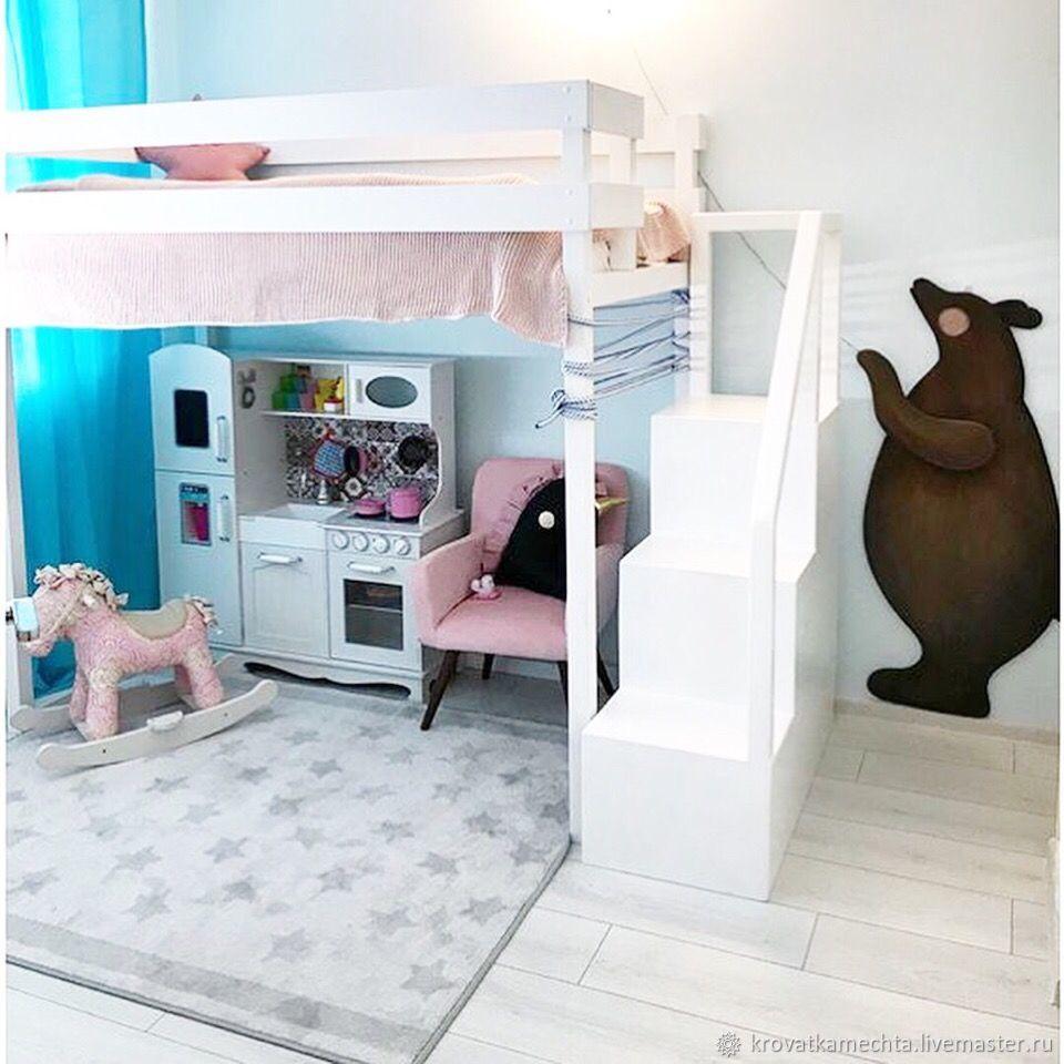 кроватка с игровым местом. Лестница с открытыми полками. медведь на заказ из дерева (отдельно). Полностью ручная работа