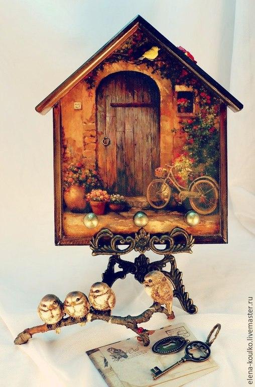 """Прихожая ручной работы. Ярмарка Мастеров - ручная работа. Купить Ключница """"Калитка в сад"""". Handmade. Разноцветный, ключница деревянная, винтаж"""