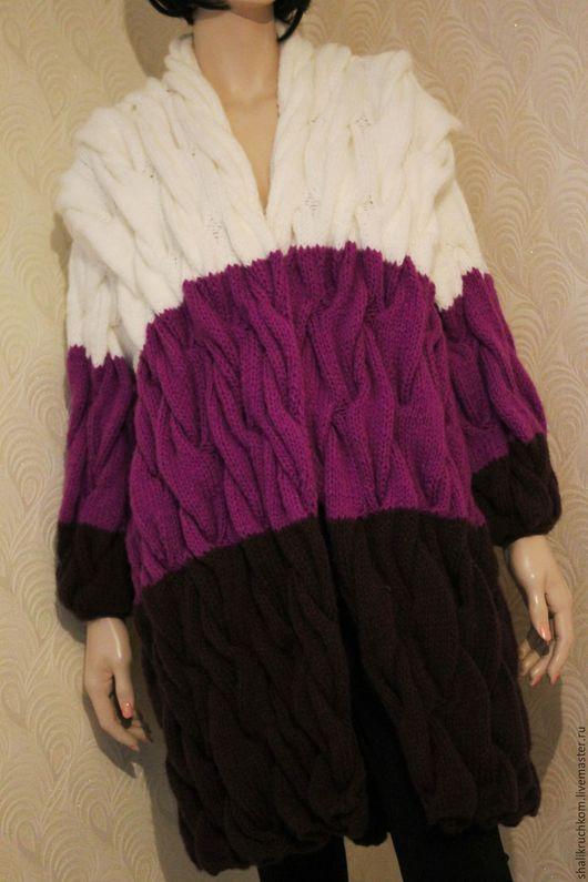 Кофты и свитера ручной работы. Заказать Вязаное пальто в стиле шарпей косы ручной работы. Кардиганы FDesign, шали. Ярмарка Мастеров.