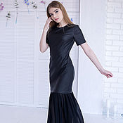 Одежда handmade. Livemaster - original item Dress cocktail, evening of eco-leather and chiffon