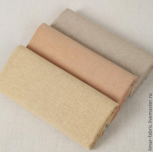 Шитье ручной работы. Ярмарка Мастеров - ручная работа. Купить Льняная ткань, 3 цвета. Handmade. Ткань, полоски