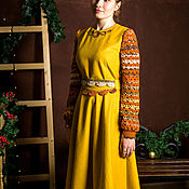 Одежда handmade. Livemaster - original item Warm woolen dress of a mustard color with embroidery. Handmade.