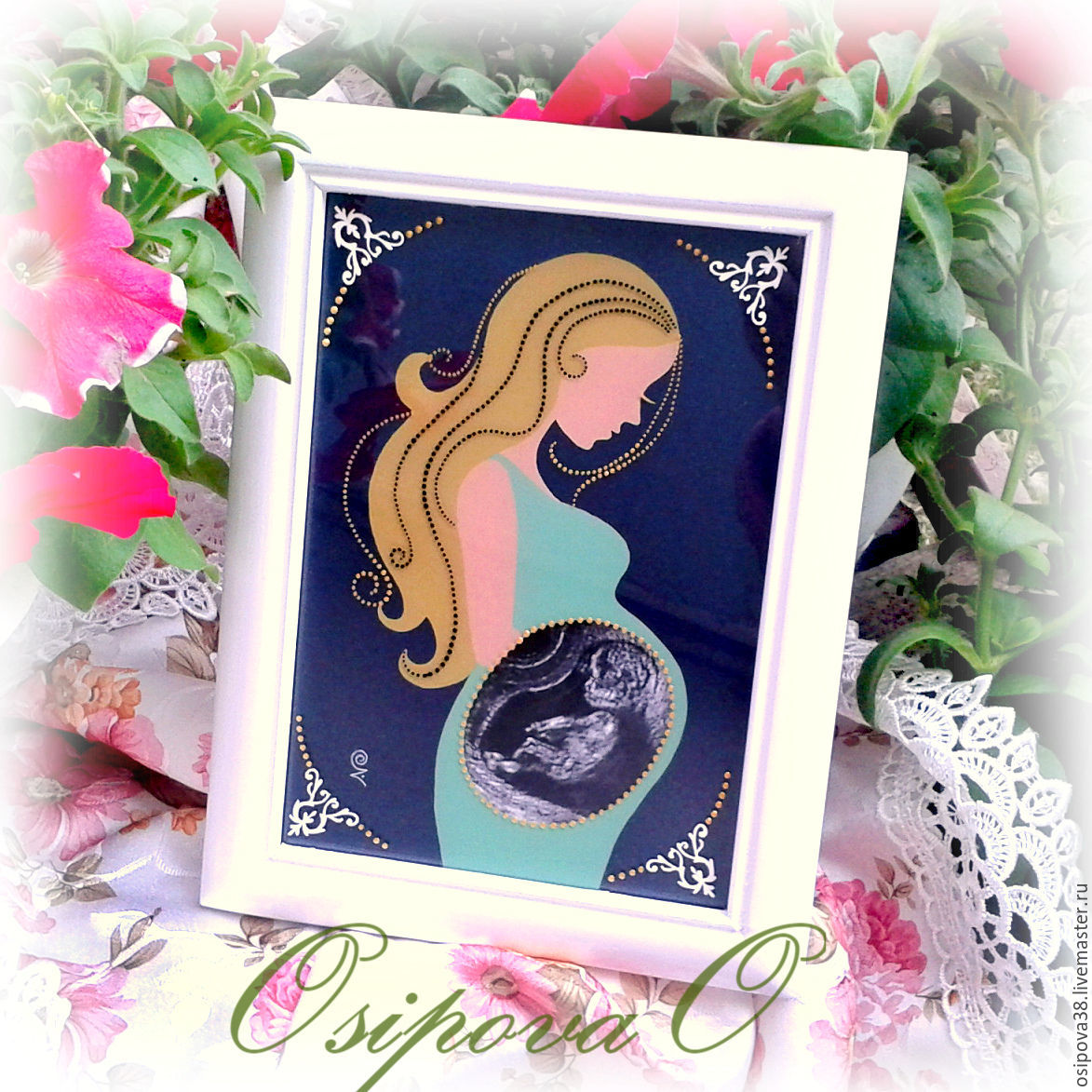 Frame for ultrasound shop online on livemaster with shipping white pregnancy nursery handmade frame for ultrasound painting and decor olga jeuxipadfo Choice Image