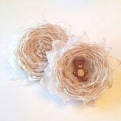 """Украшения ручной работы. Ярмарка Мастеров - ручная работа Две броши """"Мама-дочка"""" Винтажные цветы из ткани. Handmade."""
