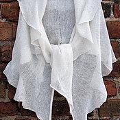 Аксессуары ручной работы. Ярмарка Мастеров - ручная работа Шарф льняной  Белый 60 x 200cm. Handmade.