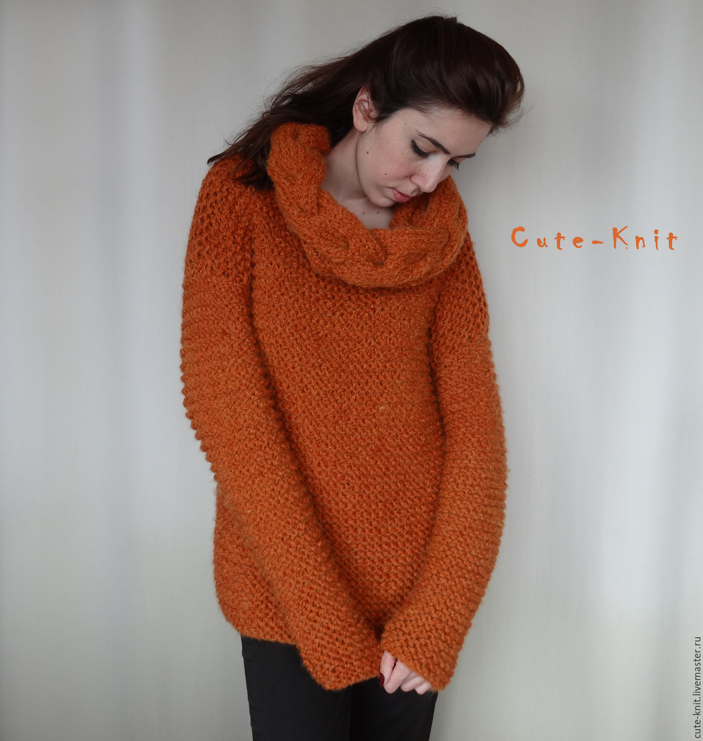 Buy Orange womens sweater chunky knit on Livemaster online shop