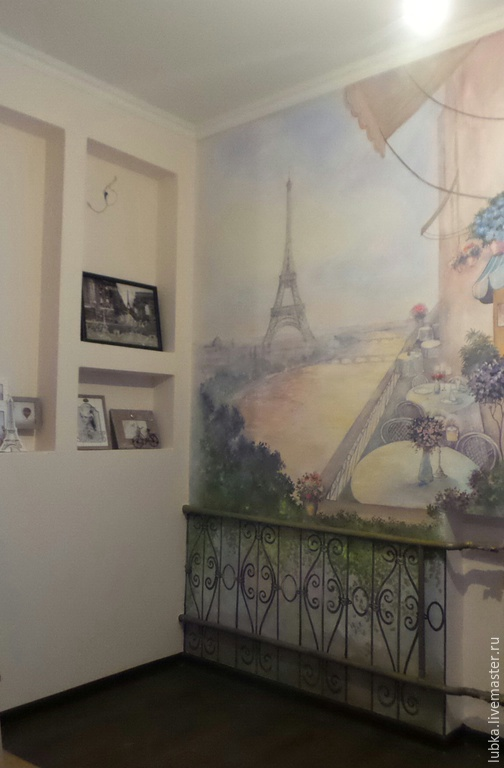 Декор поверхностей ручной работы. Ярмарка Мастеров - ручная работа. Купить Роспись стены Париж. Handmade. Разноцветный