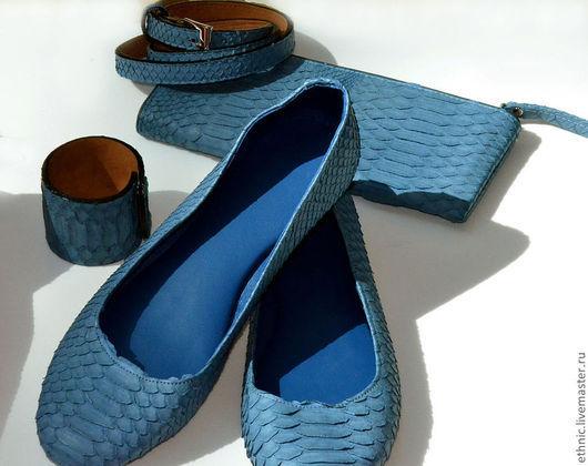 Обувь ручной работы. Ярмарка Мастеров - ручная работа. Купить Балетки из натуральной кожи питона. Handmade. Синий, туфли из питона