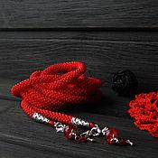 """Украшения ручной работы. Ярмарка Мастеров - ручная работа Лариат из бисера """"Красная страсть"""" однотонный, колье.. Handmade."""