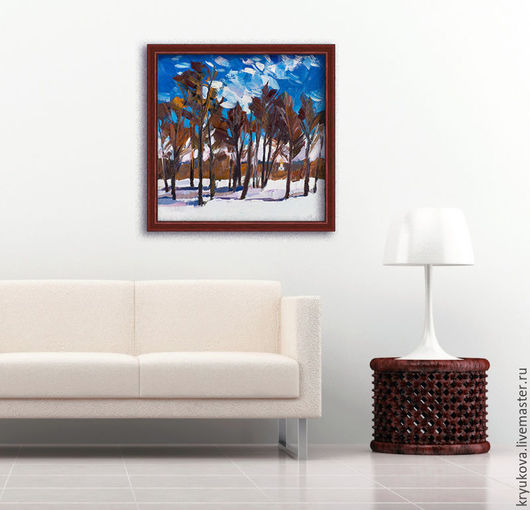 Март весенний пейзаж картина Купить картину в интерьер Картина в коричневых тонах Картина зима маслом