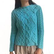 handmade. Livemaster - original item Women`s Marilyn knitted jumper with many braids, Merino, turquoise. Handmade.