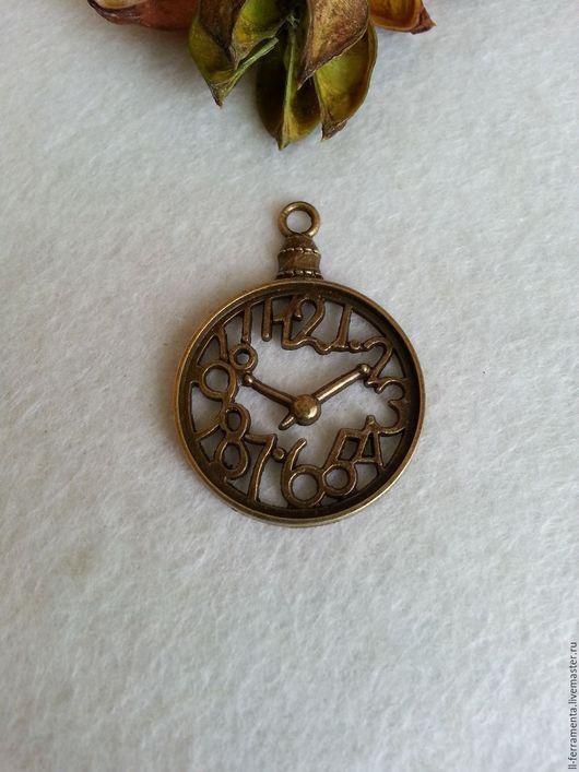 """Для украшений ручной работы. Ярмарка Мастеров - ручная работа. Купить Подвеска """"Часы"""" бронза крупная. Handmade. Хаки"""