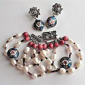 Украшения handmade. Livemaster - original item Jewelry set with cloisonné beads. Handmade.