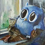 """Картины и панно ручной работы. Ярмарка Мастеров - ручная работа Картина маслом """"Совушка"""". Handmade."""