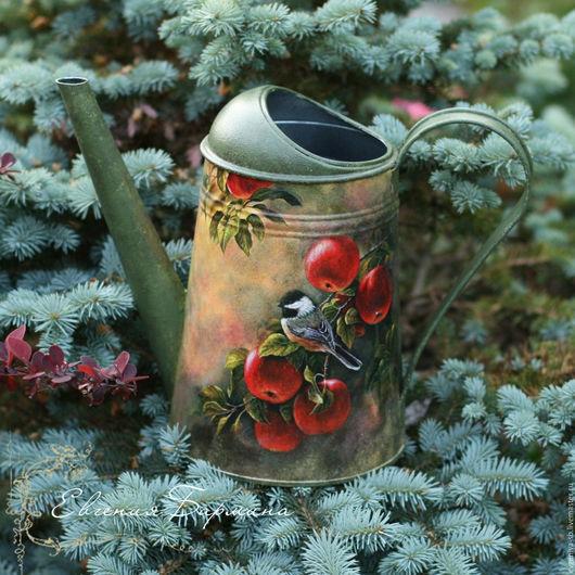 """Лейки ручной работы. Ярмарка Мастеров - ручная работа. Купить Лейка """"Синичка на яблоне"""". Handmade. Тёмно-зелёный, ваза для сухоцветов"""
