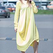 Одежда handmade. Livemaster - original item Warm, bright cotton dress - DR0121PM. Handmade.