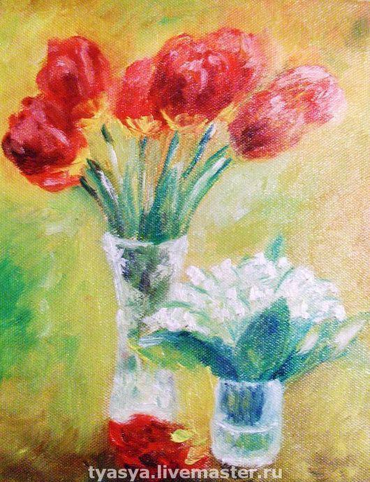 Картины цветов ручной работы. Ярмарка Мастеров - ручная работа. Купить Тюльпаны и ландыши. Handmade. Тюльпаны, ландыши, цветы