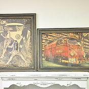 Картины и панно ручной работы. Ярмарка Мастеров - ручная работа Винтажные панно Хиппи и Volkswagen, диптих, ретро-картина, постер. Handmade.