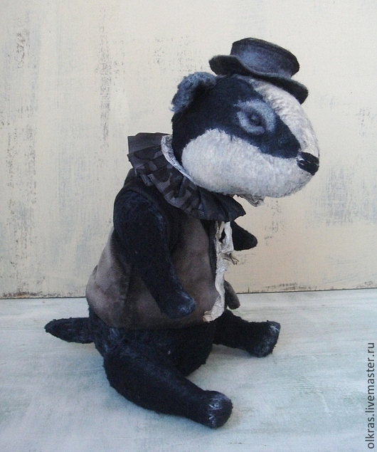 Мишки Тедди ручной работы. Ярмарка Мастеров - ручная работа. Купить Мусье Грю-барсучок. Handmade. Черный, мишка