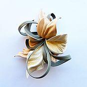 """Украшения handmade. Livemaster - original item Брошь цветок из кожи Орхидея """"Make-Up2"""" нюд телесный пудра тауп. Handmade."""