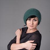 Аксессуары handmade. Livemaster - original item Angora hat fluffy knitted hat green. Handmade.