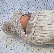 Работы для детей, ручной работы. Ярмарка Мастеров - ручная работа Бежевый конверт для новорожденного. Handmade.