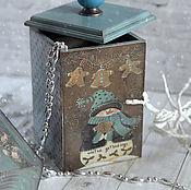 Для дома и интерьера handmade. Livemaster - original item Box Christmas from the collection of Snowmen. Box decoupage. Handmade.