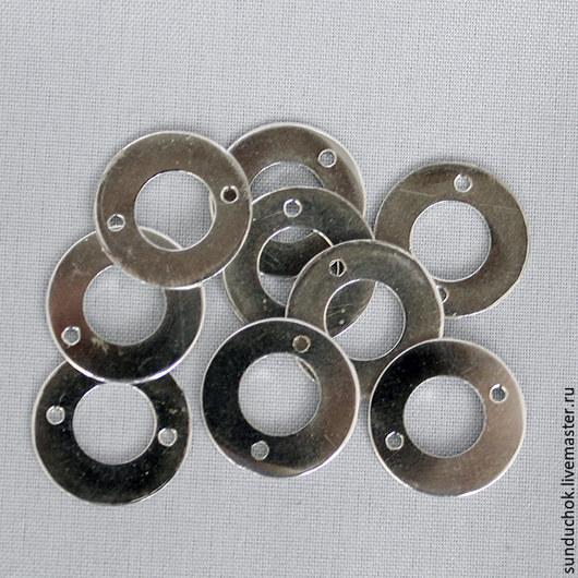 Для украшений ручной работы. Ярмарка Мастеров - ручная работа. Купить Коннектор круглый серебряный большой и поменьше. Handmade. Серебряный, серебро