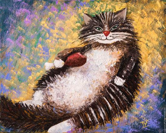 Животные ручной работы. Ярмарка Мастеров - ручная работа. Купить Котик, картина маслом на холсте. Handmade. Комбинированный, белый
