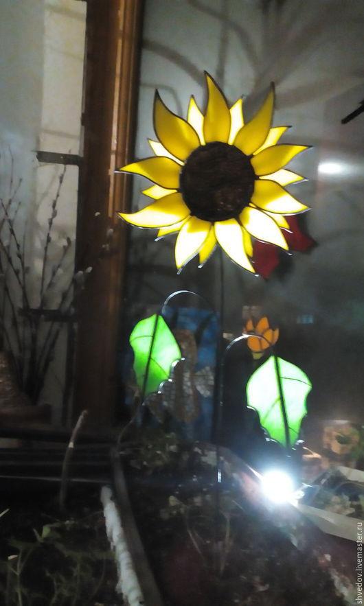Элементы интерьера ручной работы. Ярмарка Мастеров - ручная работа. Купить подсолнух витражный. Handmade. Желтый, цветок, патина чёрная