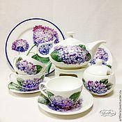 Посуда handmade. Livemaster - original item Painted porcelain tea Set Hydrangea. Handmade.