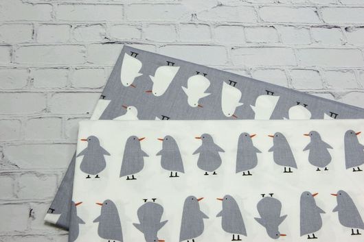 Шитье ручной работы. Ярмарка Мастеров - ручная работа. Купить Ткань  сатин Пингвины Серые 100% Хлопок. Handmade.